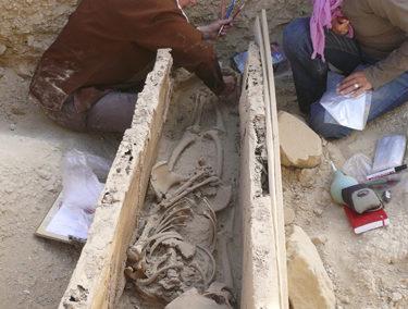 Enterramientos de la dinastía XI hallados debajo del patio de entrada a la tumba de Djehuty