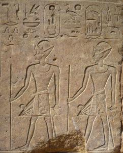 Hatshepsut y Tutmosis III representados en procesión juntos, en la Capilla Roja