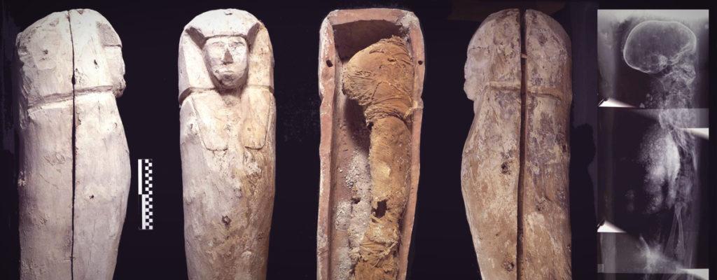 Ataúd y momia de un niño de unos cinco años, enterrado junto a la tumba de Djehuty, ca. 1600 a. C