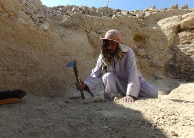 Gamal excava el último estrato del patio, junto al jardín.