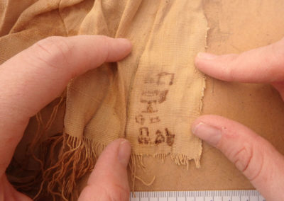 Fecha de producción escrita en uno de los lienzos de lino de la dinastía XXII.