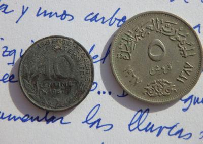 Dos monedas de 1987, una egipcia y otra francesa, han salido hoy en la excavación del sector de David.