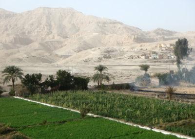 Campos de cultivo al pie de la montaña.