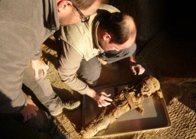 Cisco y Jesús preparan una momia para radiografiarla.