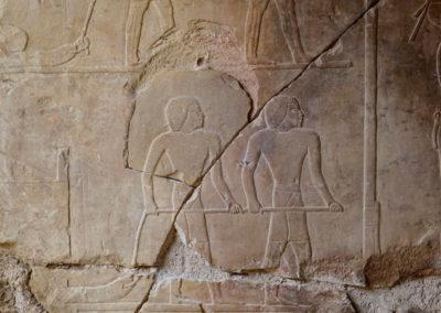 Detalle de la pared de Hery con el fragmento replicado y colocado en su sitio.