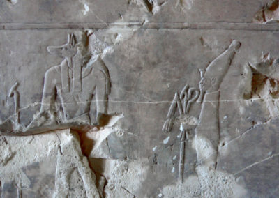 Anubis y Osiris representados en la tumba de Hery.