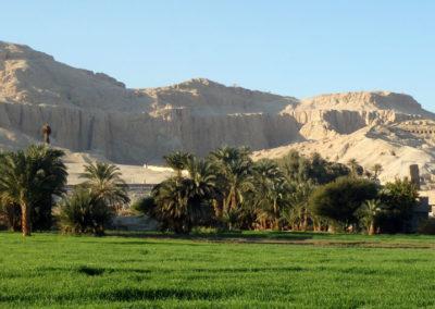 Contraste entre el verdor de los campos y el desierto de la montaña.