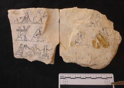Unión de dos fragmentos del mismo ostracon, uno hallado en 2018 y otro hace unos días.